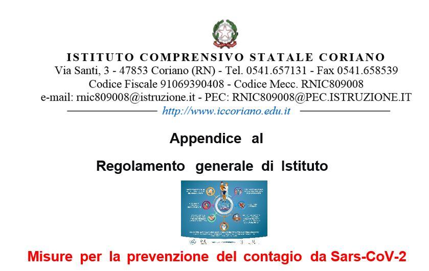 Appendice al Regolamento generale di Istituto. Misure per la prevenzione del contagio da Sars-CoV-2