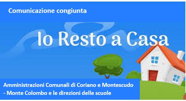 Comunicazione congiunta delle Amministrazioni Comunali di Coriano e Montescudo – Monte Colombo  e delle direzioni delle scuole