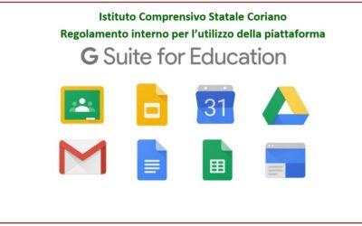"""Regolamento interno per l'utilizzo della piattaforma """"G SUITE for Education"""""""