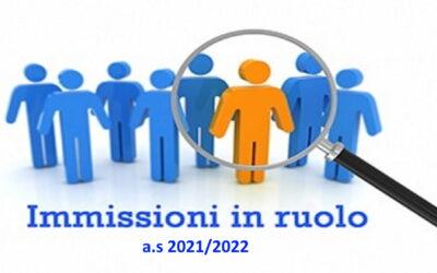 Operazioni finalizzate all'assunzione del personale docente con contratto a tempo indeterminato a.s. 2021/2022