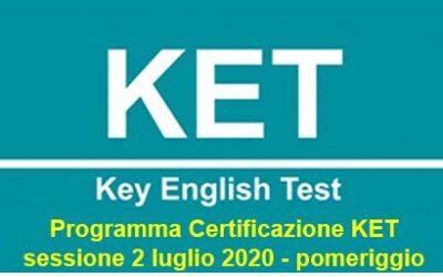 Esami Cambridge English: programma certificazione KET sessione 2 luglio 2020 – pomeriggio