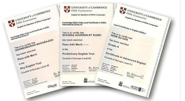 Certificati esame Cambridge KET maggio 2019